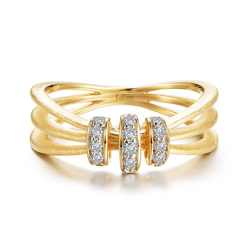 Adorable And Fun To Wear Three Band Ring Features Three Sections With Signature Simulated Diamonds In Gold Plated Sterling Silver With Brushed Finish With Regard To Latest Signature Bands Ring (View 11 of 25)