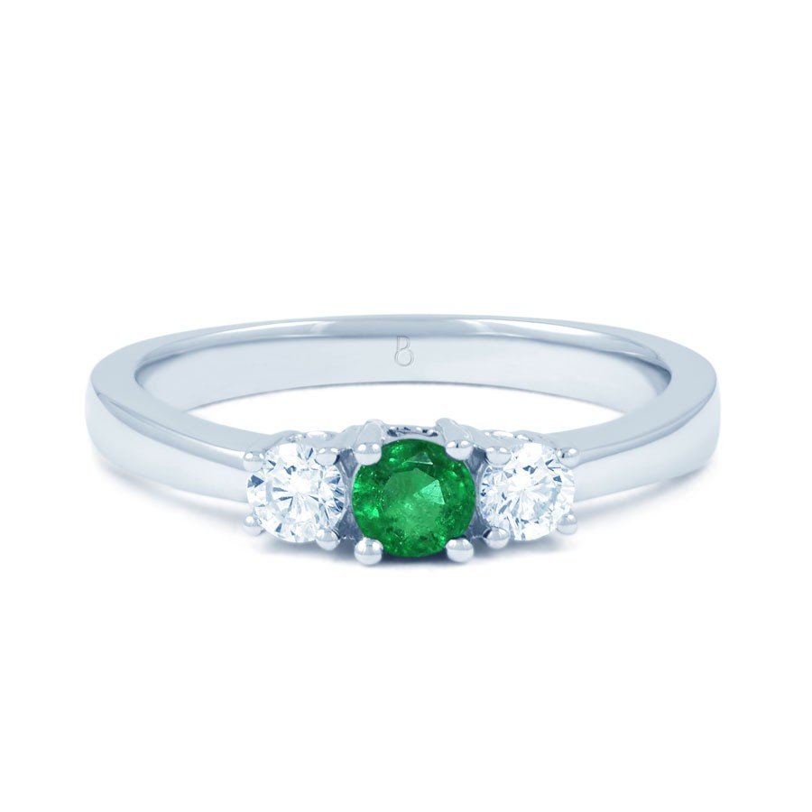 Amor Emerald 3 Stone Ring Regarding Emerald And Diamond Three Stone Rings (View 8 of 25)