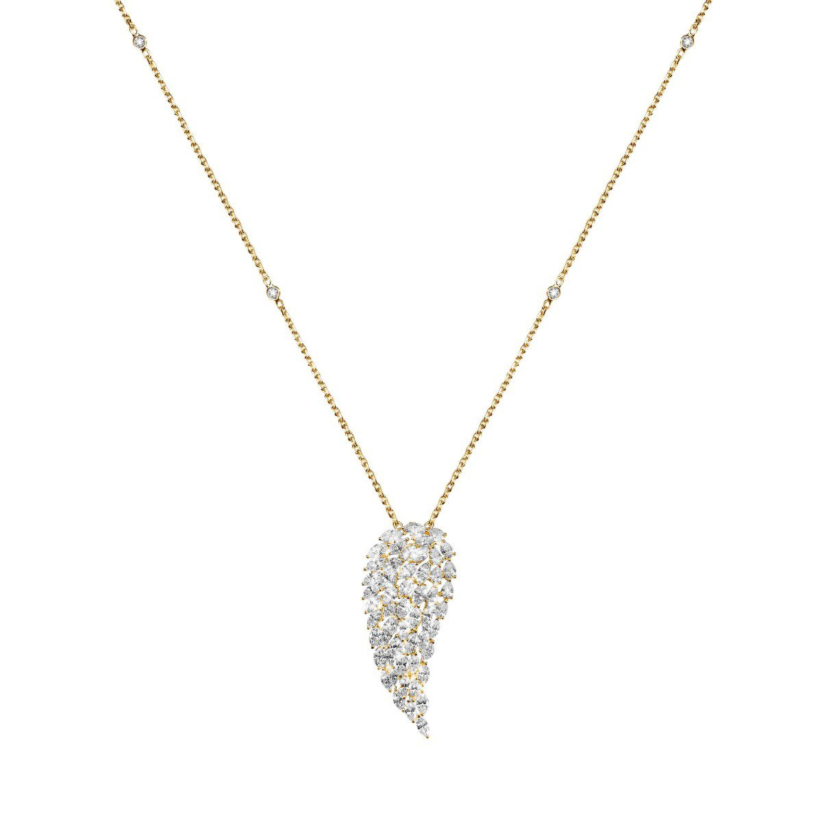 Angel Vertical For Newest Yellow Gold Diamond Sautoir Necklaces (View 3 of 25)