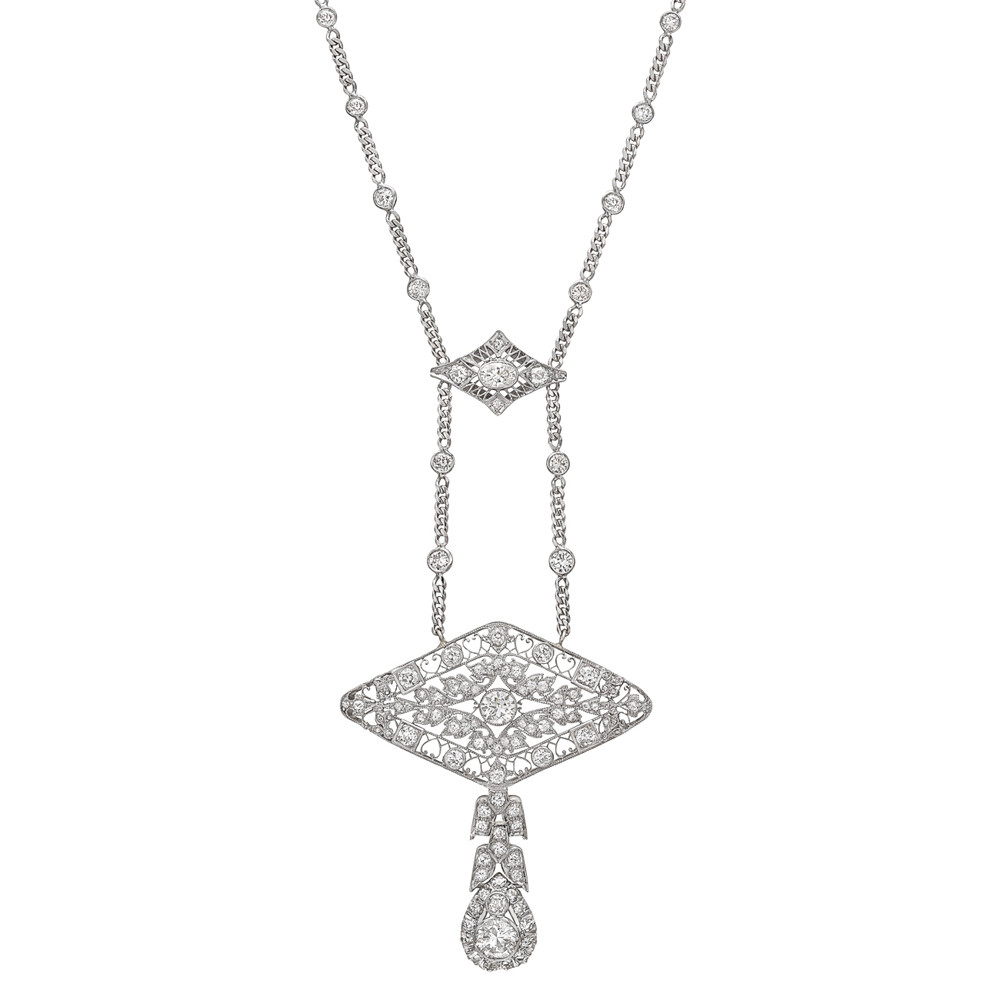 Antique Diamond Sautoir Necklace | Betteridge Regarding 2019 Diamond Sautoir Necklaces In Platinum (View 3 of 25)