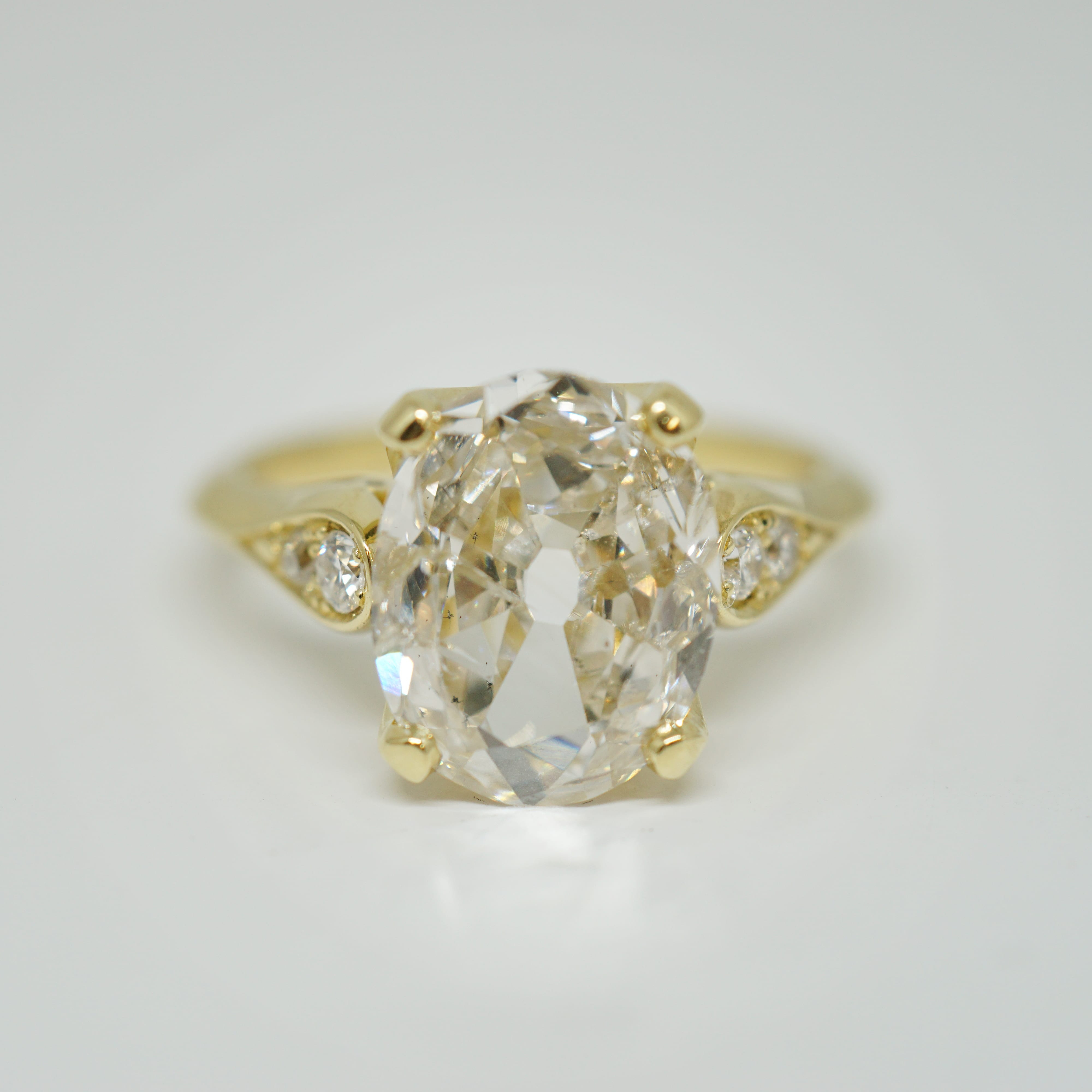 Antique Oval Cut Diamond Ring Within Oval Shaped Yellow Diamond Rings (View 20 of 25)