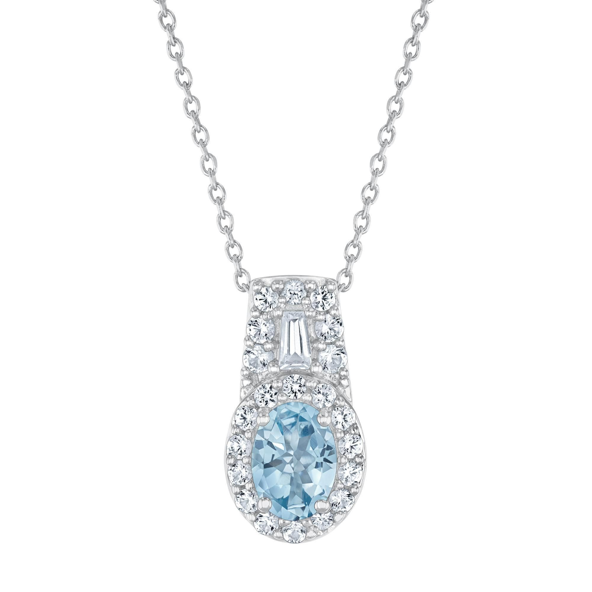 Aquamarine And Created White Sapphire Halo Sterling Silver Regarding Most Popular Sapphire, Aquamarine And Diamond Necklaces (View 3 of 25)