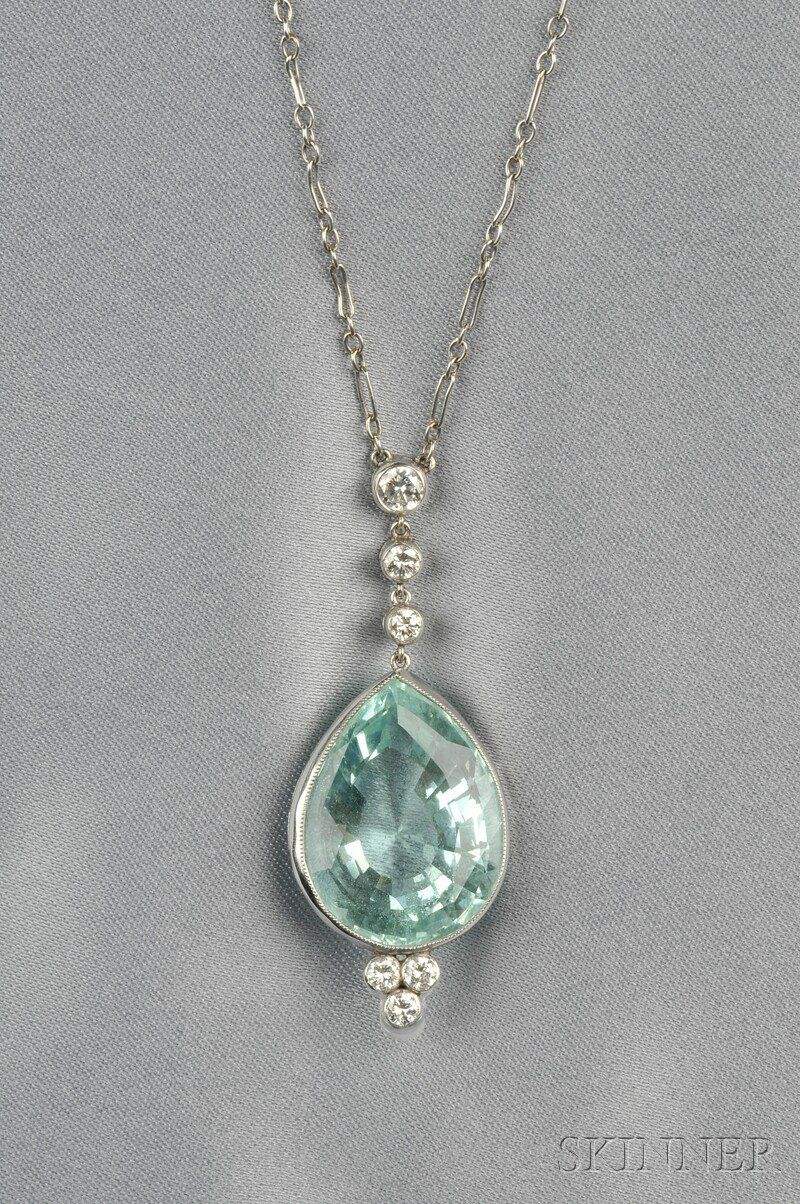 Aquamarine And Diamond Pendant | Royal And Vintage Jewelry In Most Current Sapphire, Aquamarine And Diamond Necklaces (View 4 of 25)