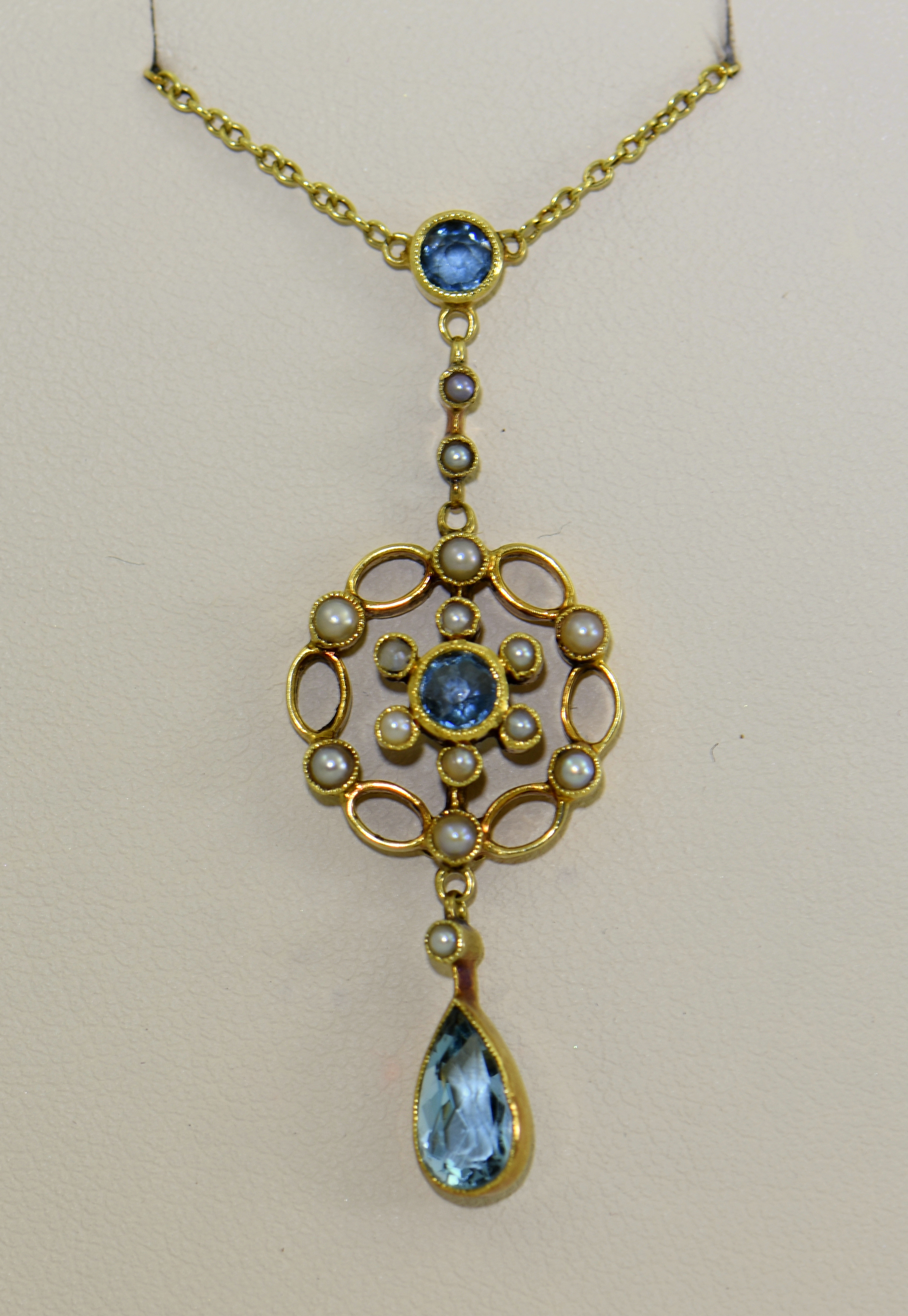 Aquamarine & Pearl Lavalier Necklace Circa 1905 For Best And Newest Reversible Diamond, Sapphire And Aquamarine Pendant Necklaces (View 1 of 25)