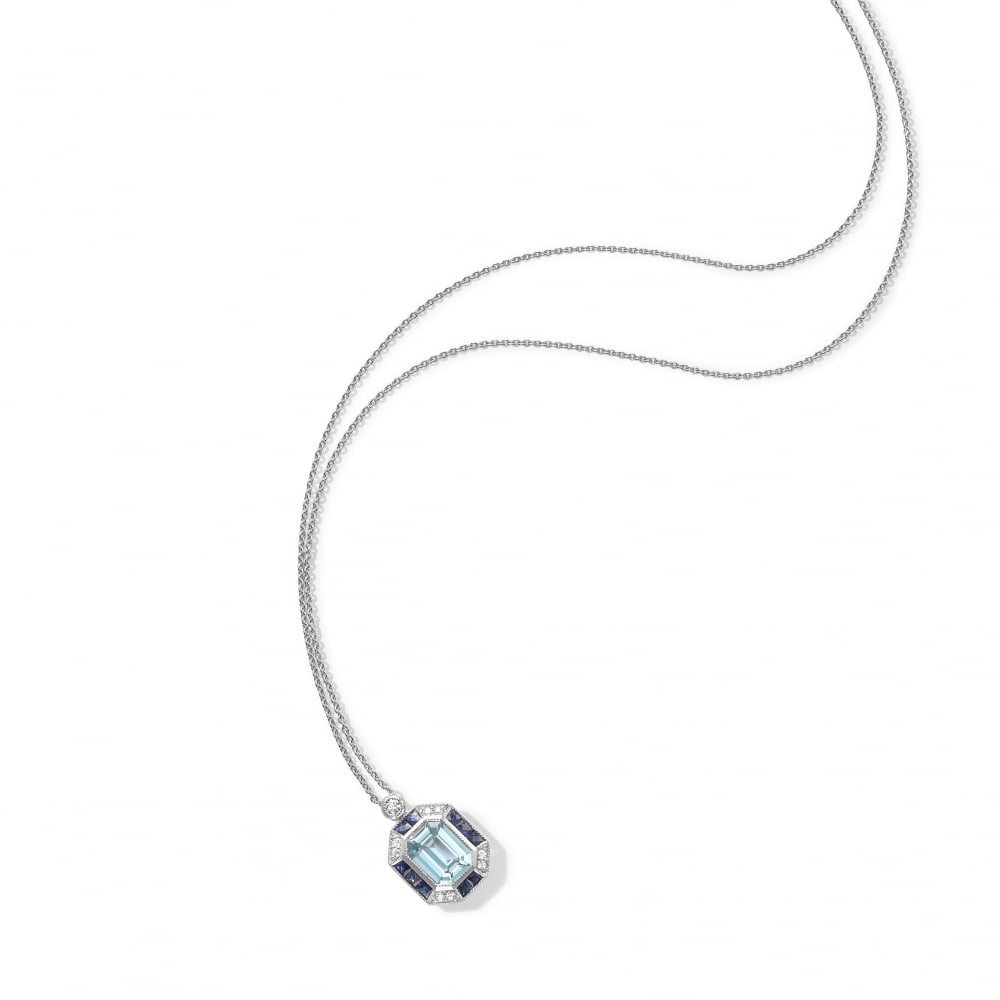 Aquamarine, Sapphire And Diamond Pendant And Chain With Regard To 2020 Sapphire, Aquamarine And Diamond Necklaces (View 7 of 25)
