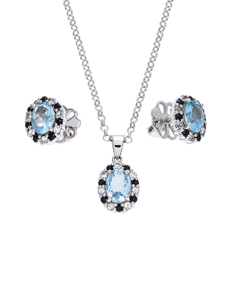 Aquamarine, White Sapphire & Onyx Birthstone Stud Earrings & Pendant Set For Most Up To Date Sapphire, Aquamarine And Diamond Necklaces (View 8 of 25)