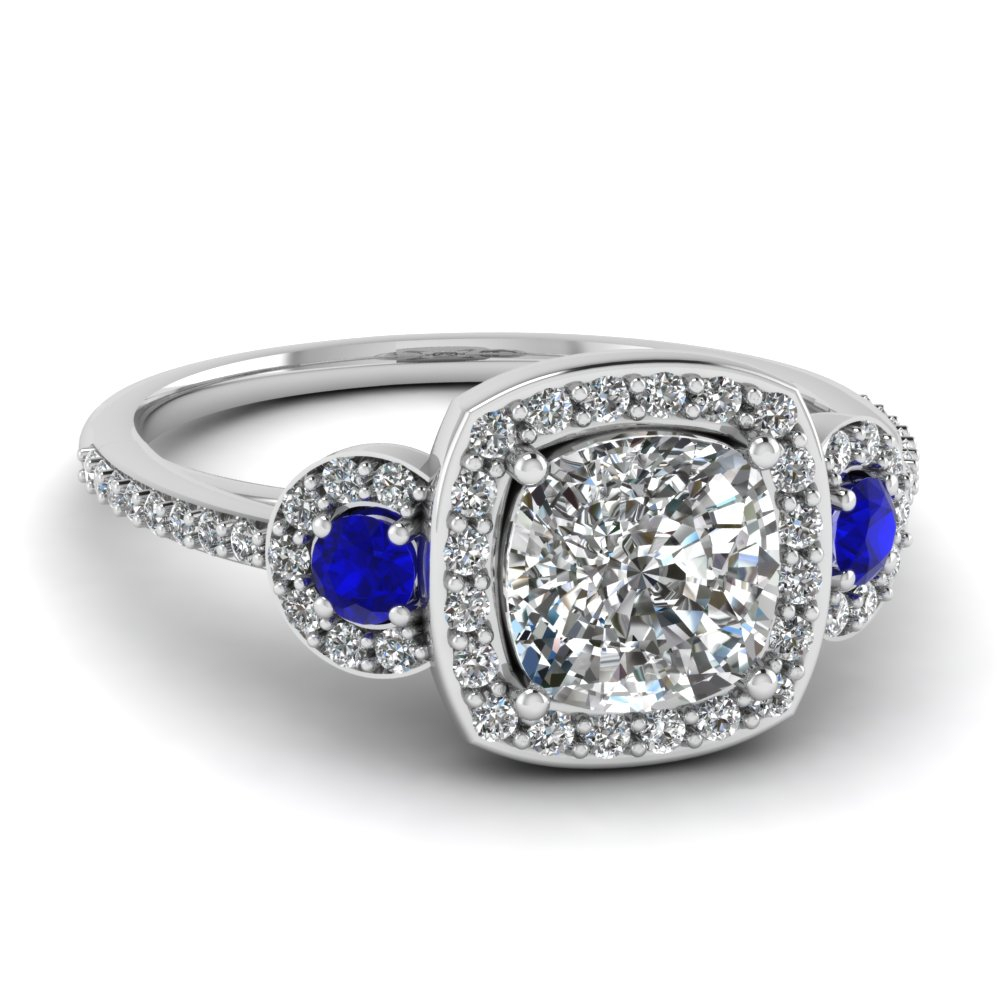Art Deco 3 Stone Halo Ring Regarding Cushion Cut Sapphire Rings (View 5 of 25)