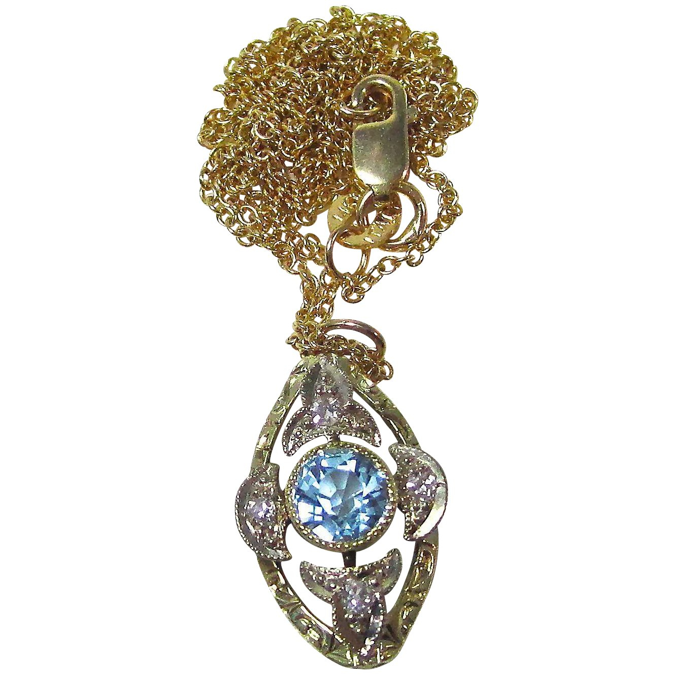 Art Deco Aquamarine Diamond Vintage Wedding Birthstone Lavaliere  Pendant/necklace 14K Yellow/white Gold Throughout Recent Reversible Diamond, Sapphire And Aquamarine Pendant Necklaces (View 3 of 25)
