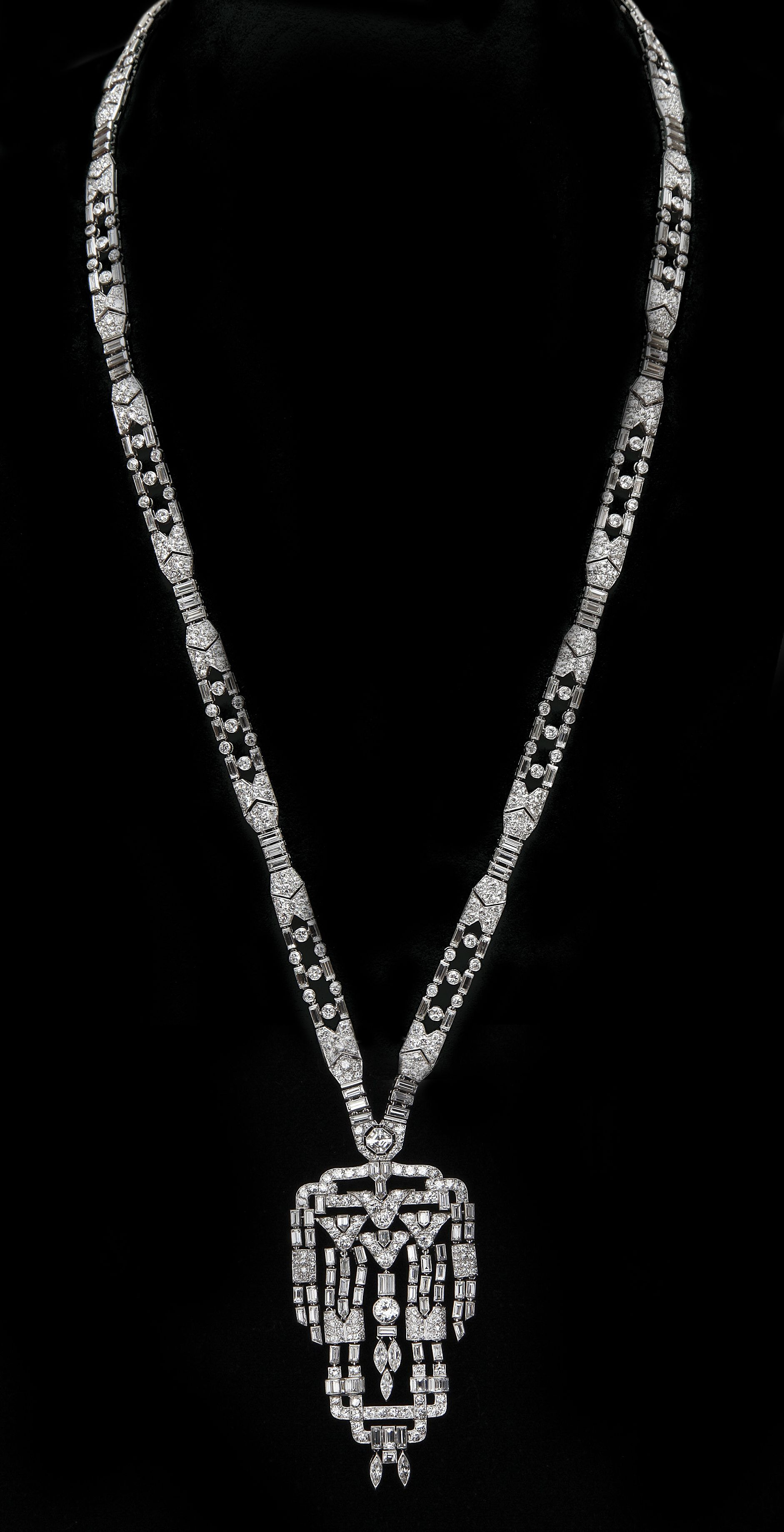 Art Deco Diamond Sautoir In Platinum, Breaks Into 4 Pertaining To Most Up To Date Diamond Sautoir Necklaces In Platinum (View 10 of 25)