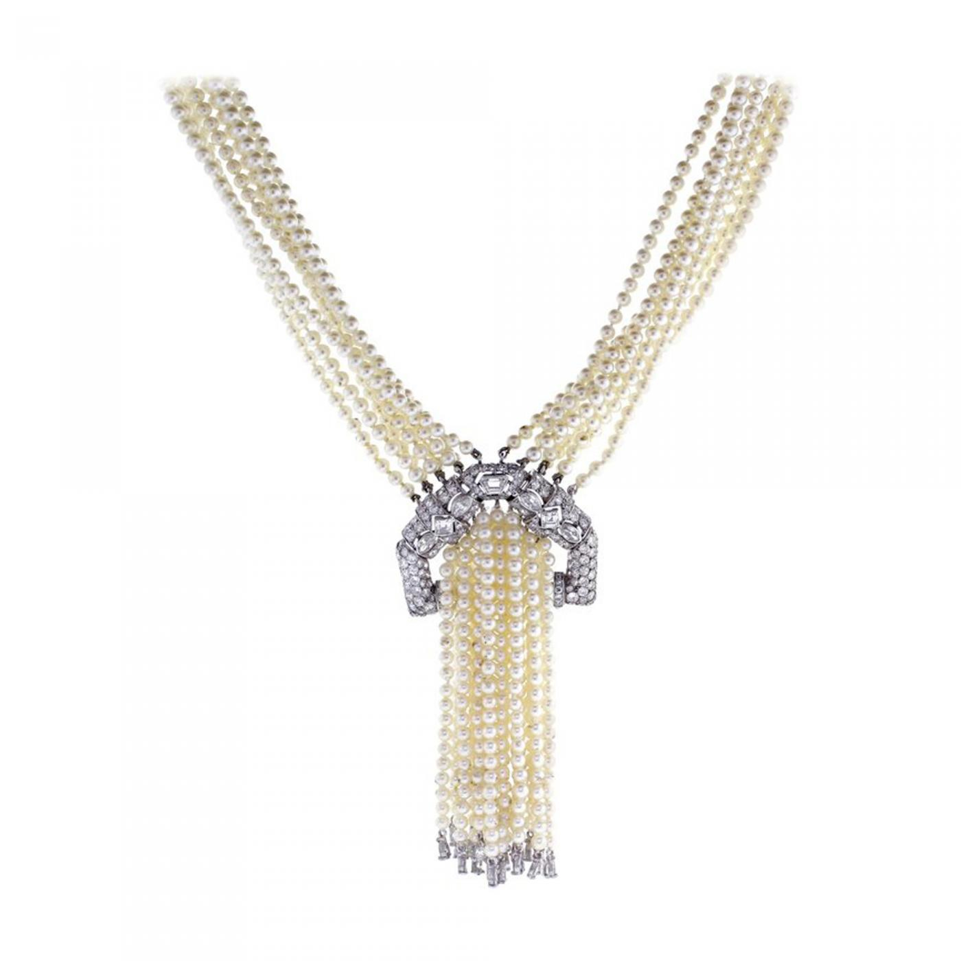 Art Deco Pearl And Diamond Sautoir Necklace Intended For Most Recent Diamond Sautoir Necklaces In Platinum (View 11 of 25)