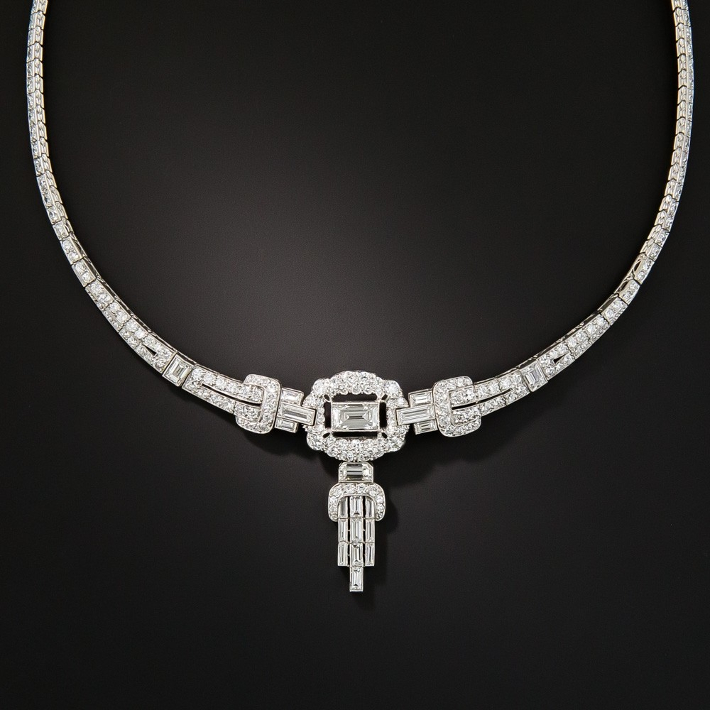 Art Deco Platinum Diamond Necklace Intended For Most Up To Date Diamond Necklaces In Platinum (View 2 of 25)