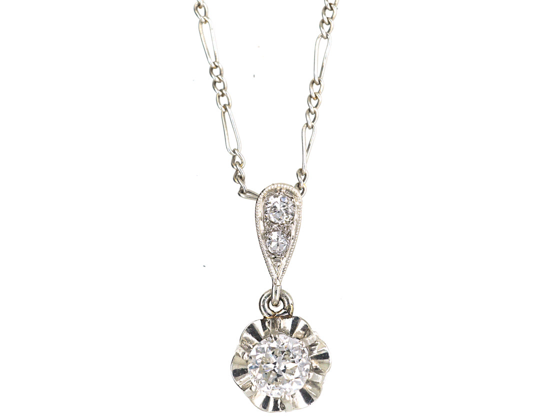 Art Deco Platinum & Diamond Pendant On Platinum Chain – The Antique Jewellery Company With Regard To Most Current Diamond Necklaces In Platinum (View 18 of 25)