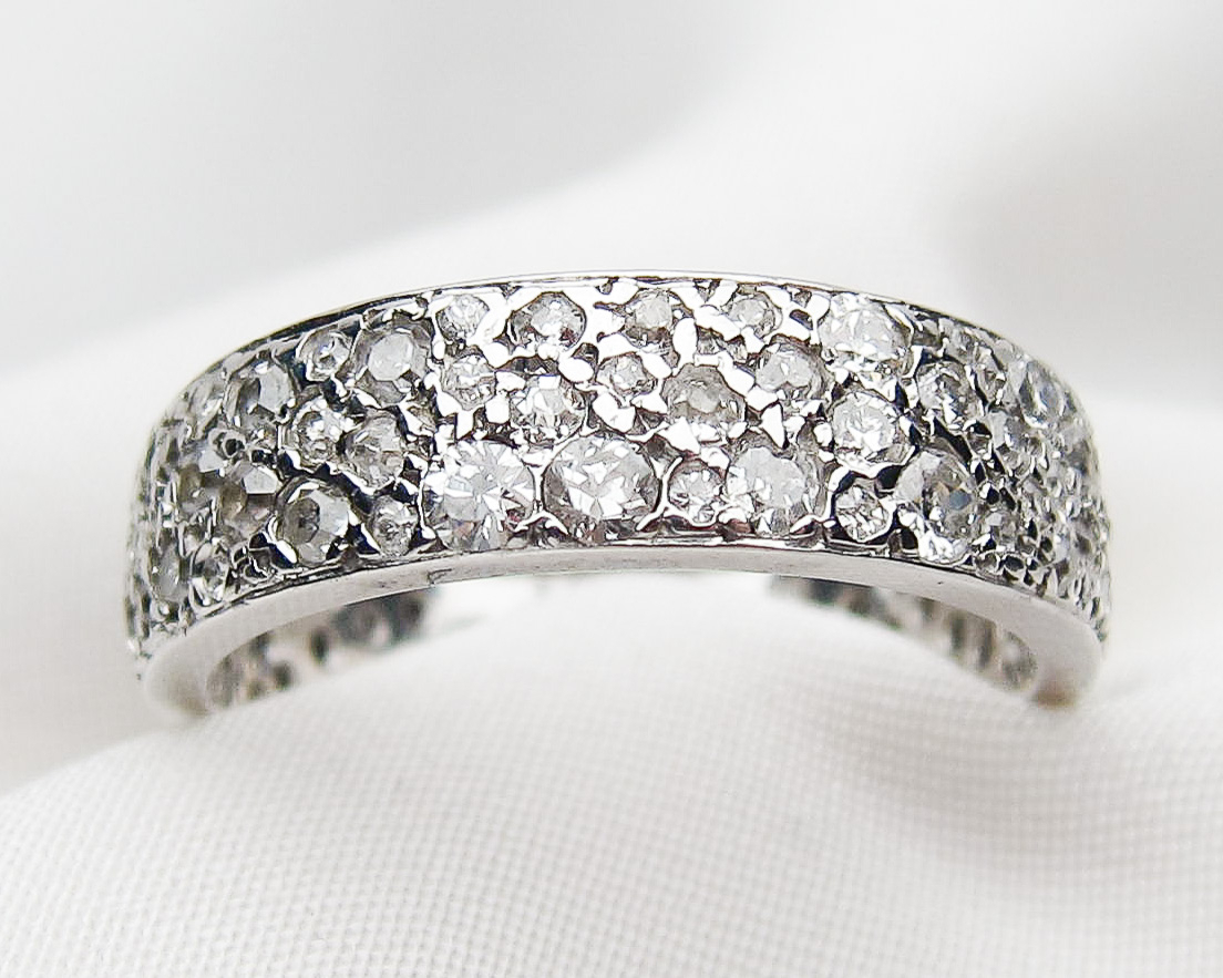 Art Deco Wide Diamond Eternity Band Inside Recent Wide Diamond Wedding Bands (View 11 of 25)