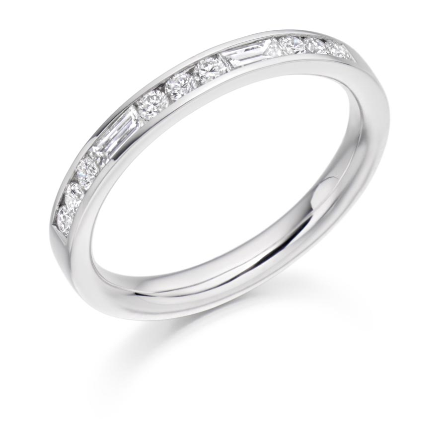Baguette & Round Brilliant Cut Half Eternity Ring Het2485 In Most Current Channel Set Round Brilliant And Baguette Cut Diamond Wedding Bands (View 6 of 25)