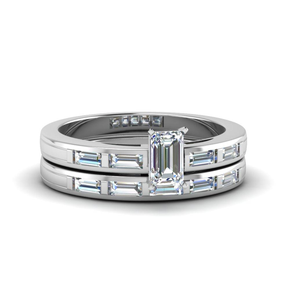 Bar Baguette Simple Wedding Set With Recent Baguette Cut Single Diamond Wedding Bands (View 5 of 25)