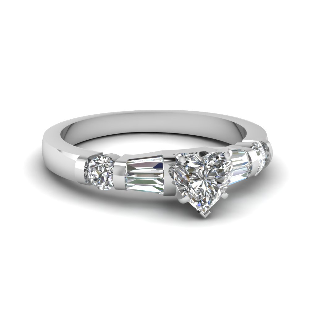 Bar Set Baguette Ring With Heart Shaped Engagement Rings With Tapered Baguette Side Stones (View 5 of 25)