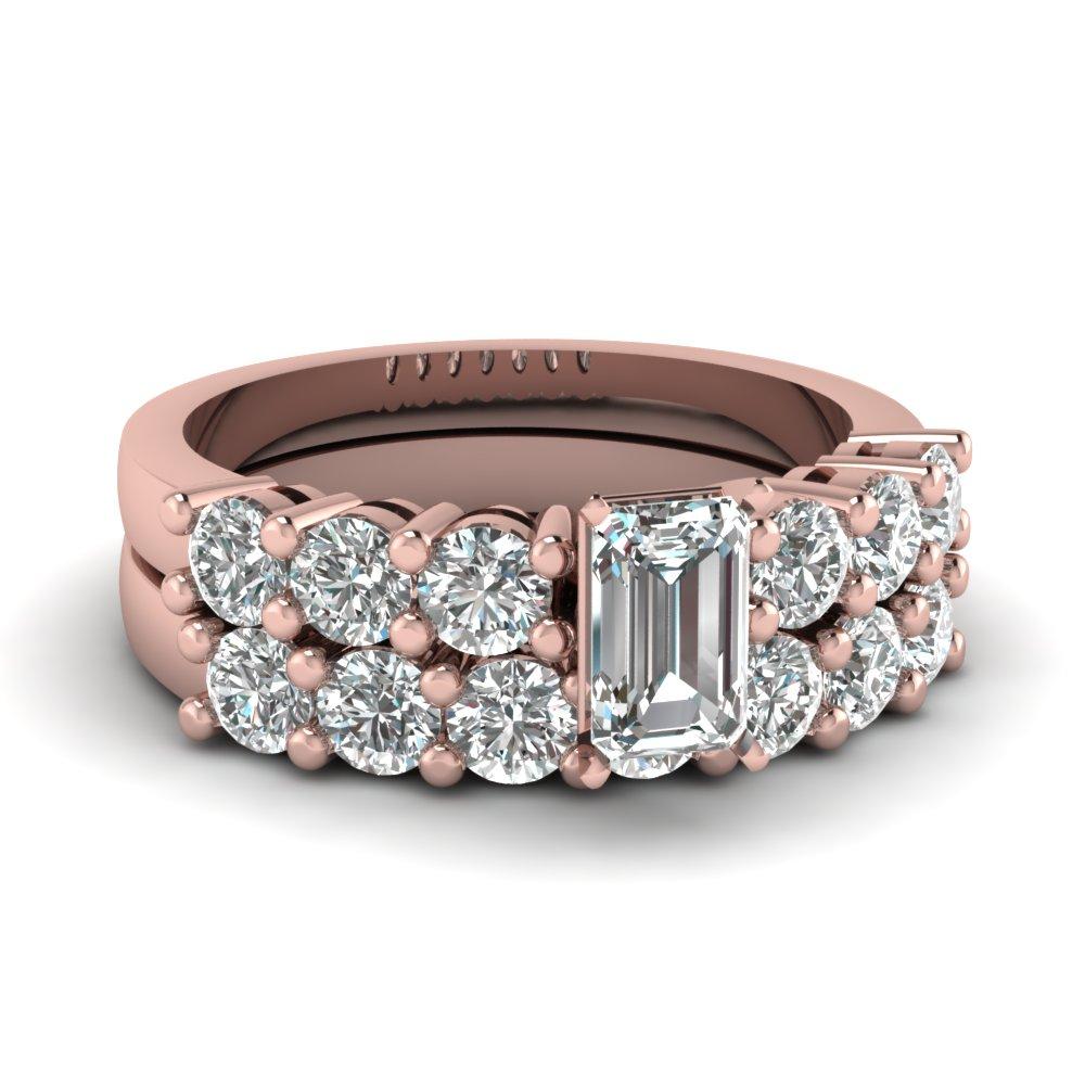 Basket Prong Diamond Wedding Set Throughout Best And Newest Prong Set Emerald Cut Diamond Wedding Bands (View 7 of 25)