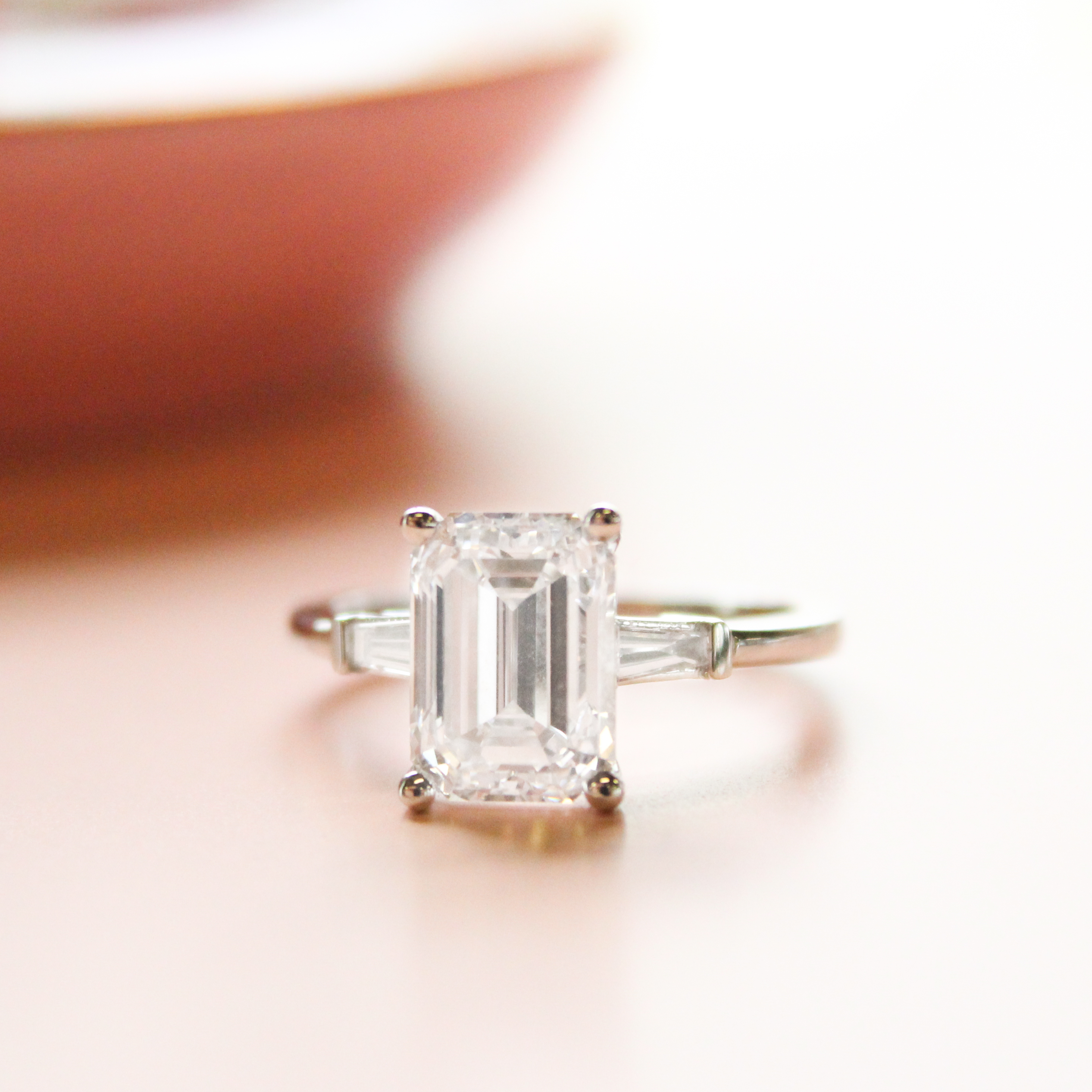 Beautiful Baguette Diamond Ring Designs Regarding Emerald Cut Engagement Rings With Tapered Baguette Side Stones (View 12 of 25)