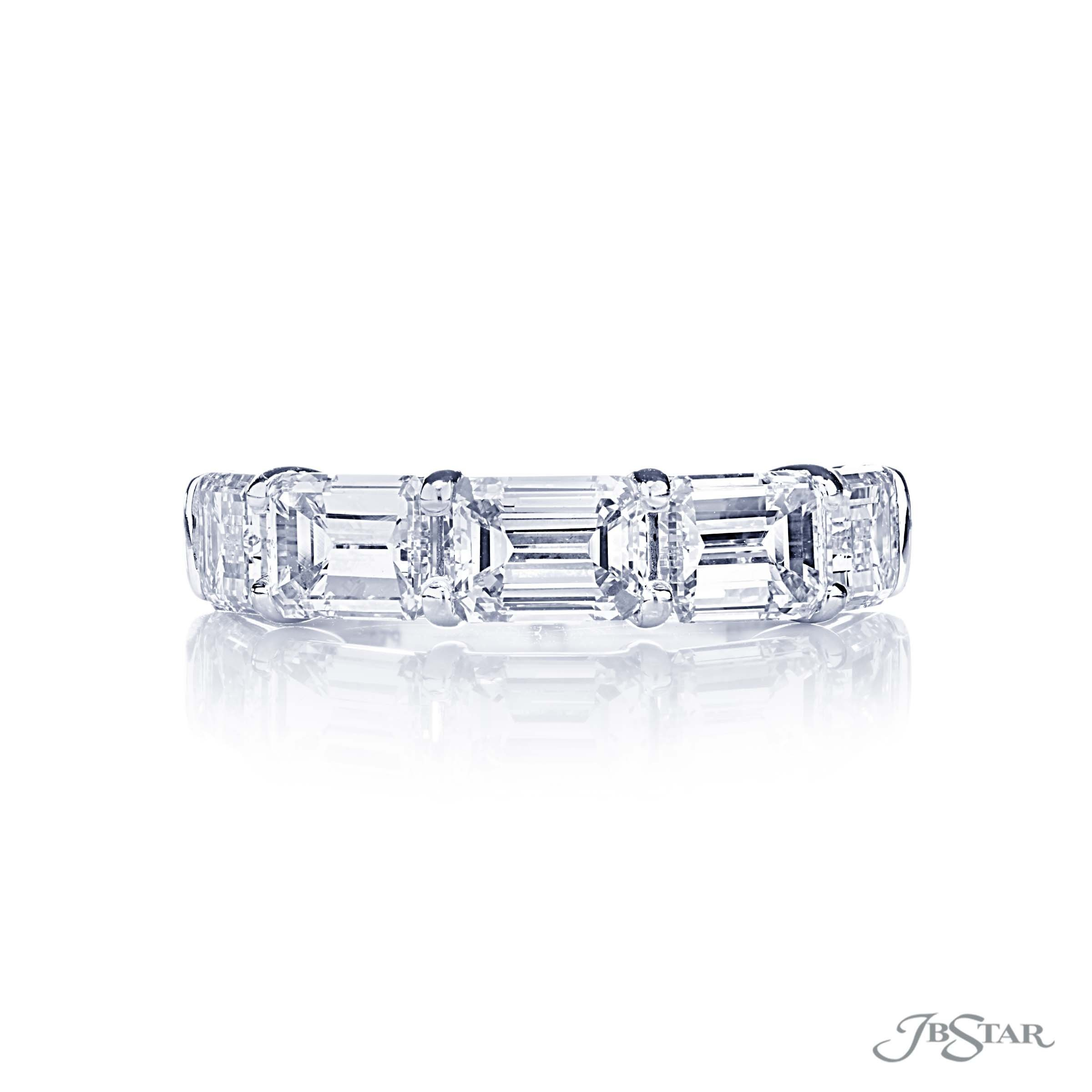 Beautiful Diamond Wedding Band Featuring 5 Emerald Cut Pertaining To Best And Newest Prong Set Emerald Cut Diamond Wedding Bands (View 4 of 25)