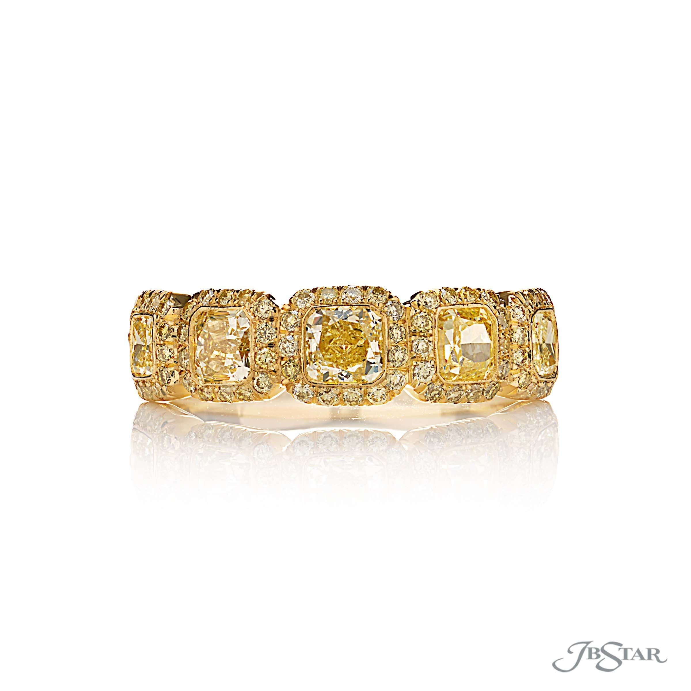Beautiful Fancy Yellow Diamond Band Featuring 5 Fancy Yellow Within Cushion Cut Yellow Diamond Micropavé Rings (View 17 of 25)
