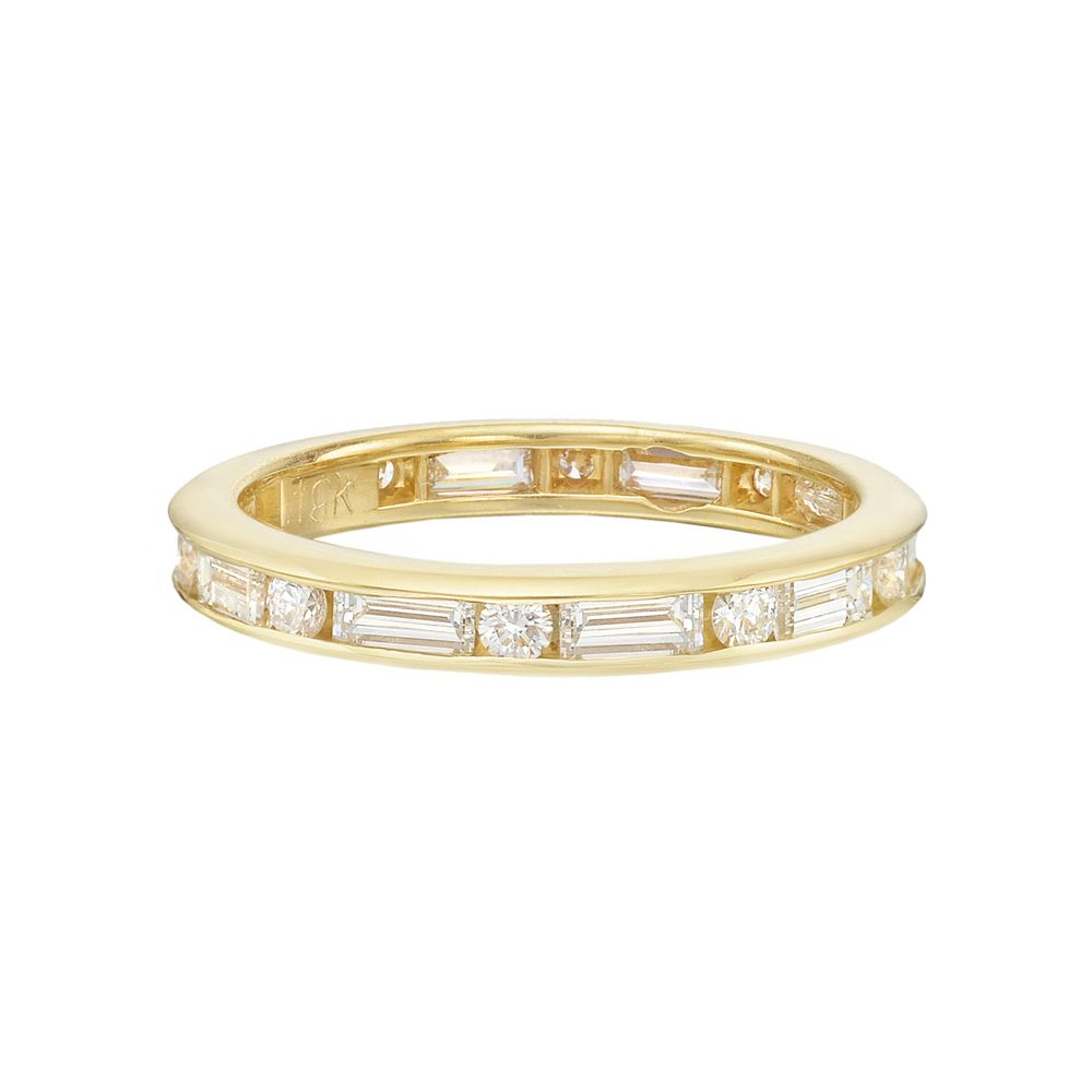 Betteridge Collection Round & Baguette Diamond Eternity Band For Most Recent Channel Set Round Brilliant And Baguette Cut Diamond Wedding Bands (View 10 of 25)
