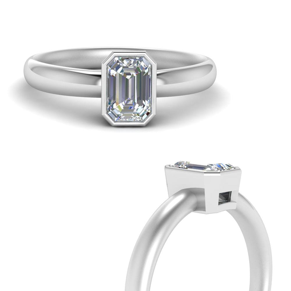 Bezel Solitaire Ring With Solitaire Emerald Cut Engagement Rings (View 15 of 25)