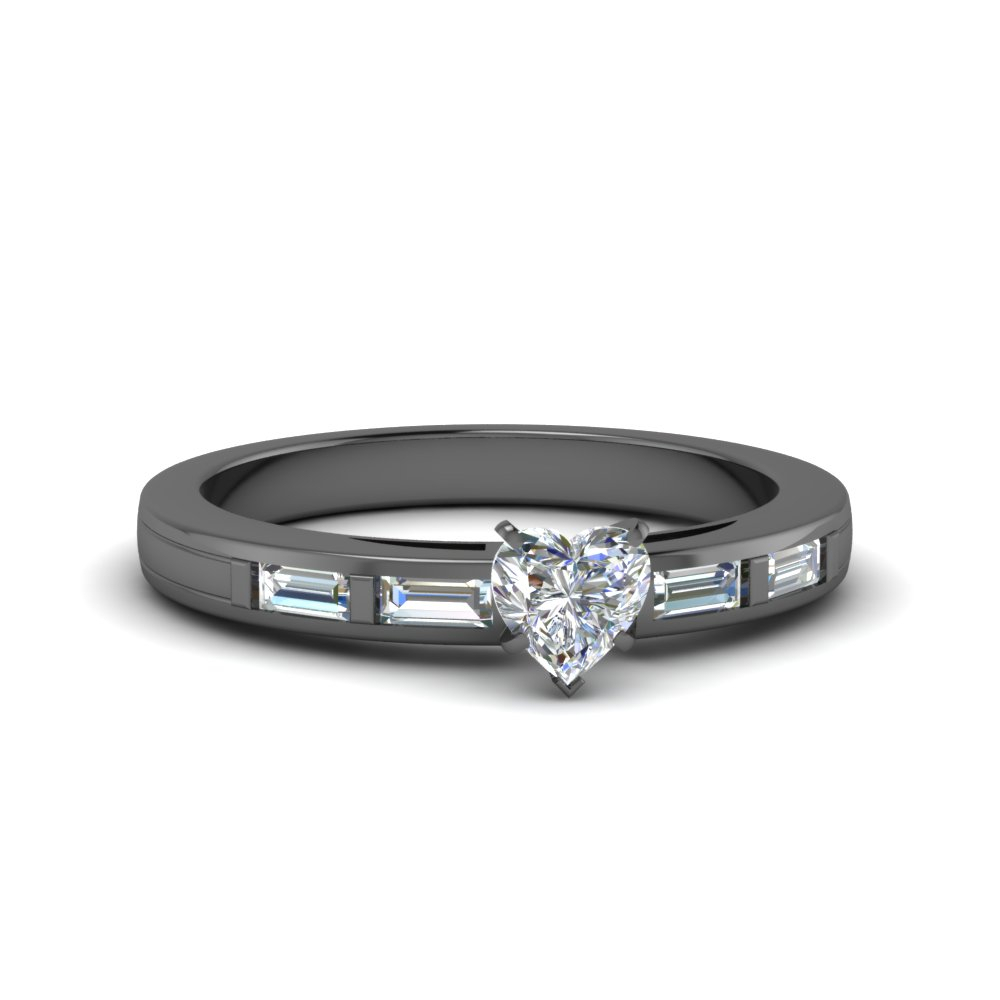 Black Gold Baguette Side Stone Ring For Heart Shaped Engagement Rings With Tapered Baguette Side Stones (View 11 of 25)