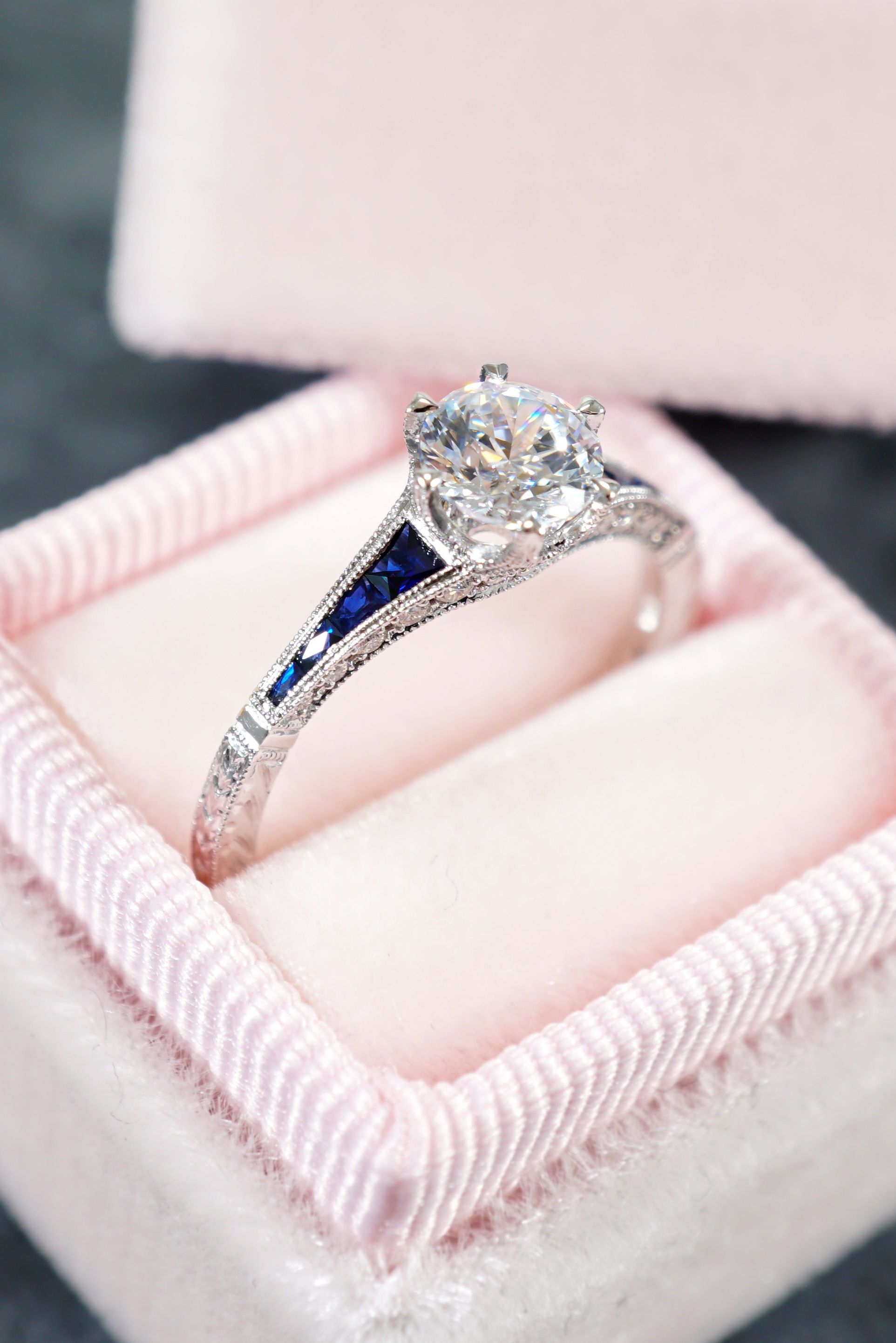 Blue Sapphire And Diamond Engagement Ring | Diamond And Within Most Popular Round Brilliant Single Diamond Wedding Bands (View 19 of 25)