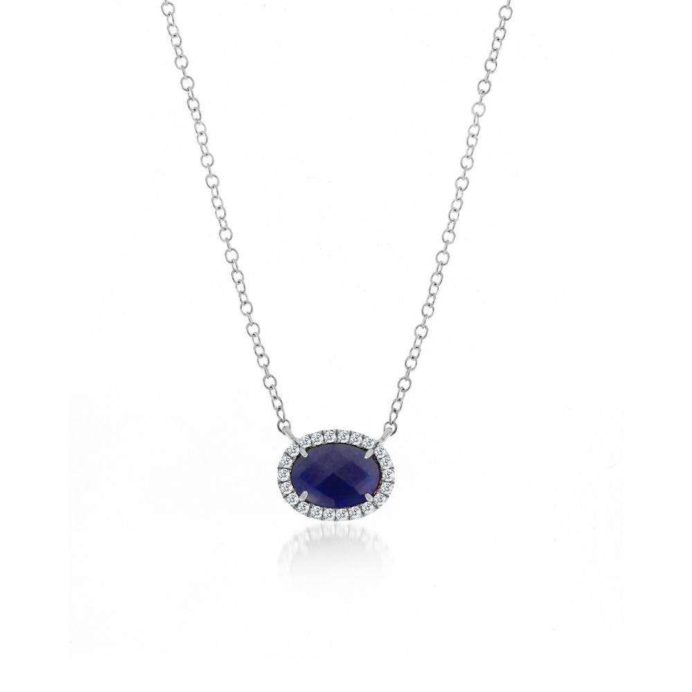 Blue Sapphire And Diamond Necklace | Products In 2019 Pertaining To Most Current Reversible Diamond, Sapphire And Aquamarine Pendant Necklaces (View 1 of 25)