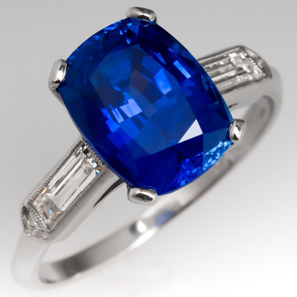 Blue Sapphire Engagement Ring Cushion Cut Gia 5 Carat No Throughout Cushion Cut Sapphire Rings (View 6 of 25)