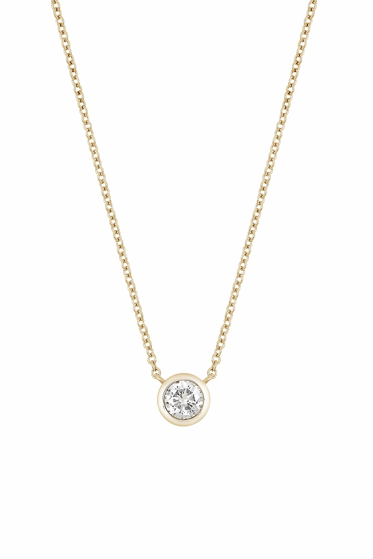 Bony Levy | 14k Yellow Gold Bezel Set Diamond Solitaire Pendant Necklace – (View 18 of 25)