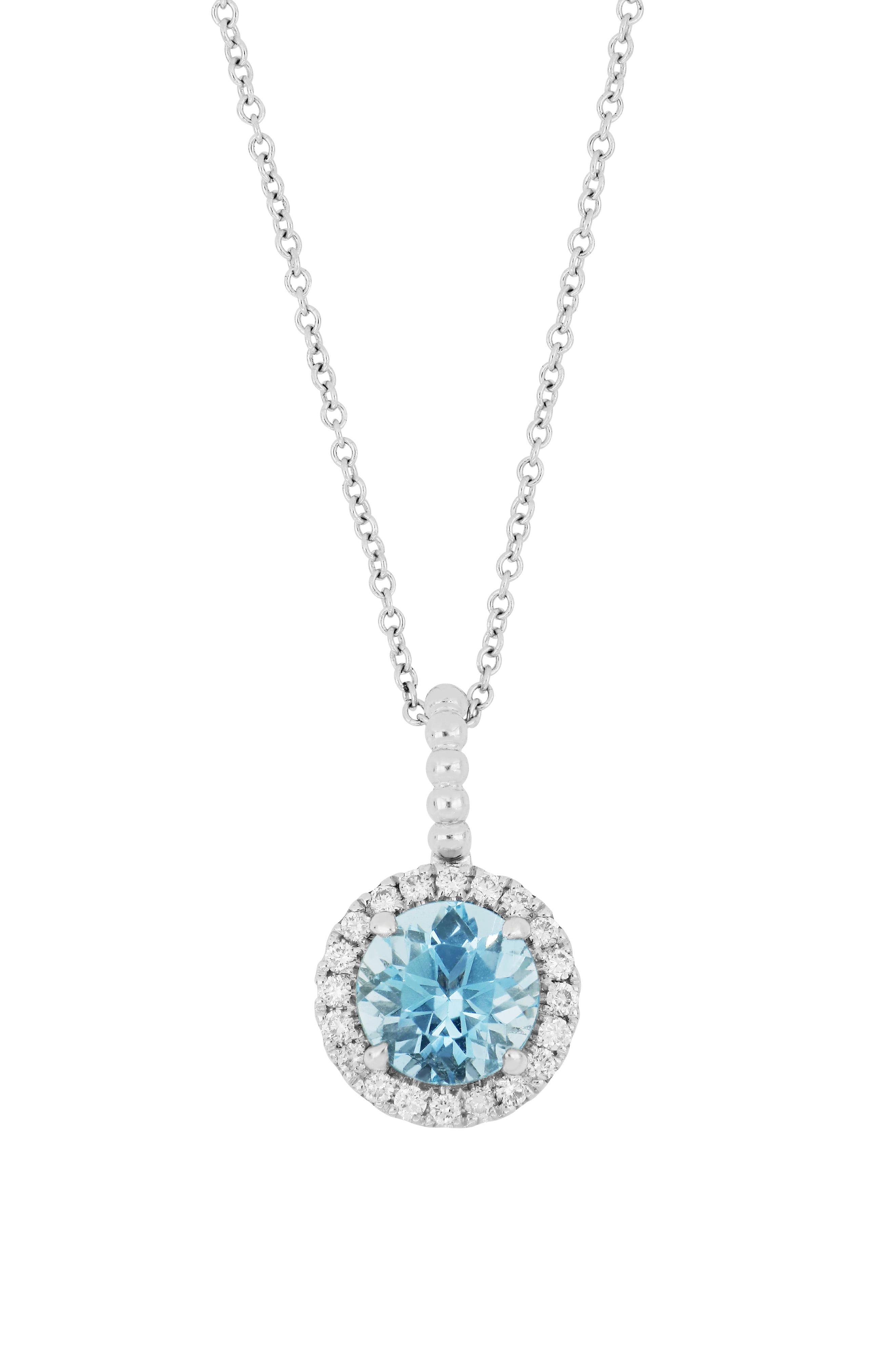 Bony Levy Diamond & Aquamarine Pendant Necklace (nordstrom Intended For Most Up To Date Reversible Diamond, Sapphire And Aquamarine Pendant Necklaces (View 24 of 25)