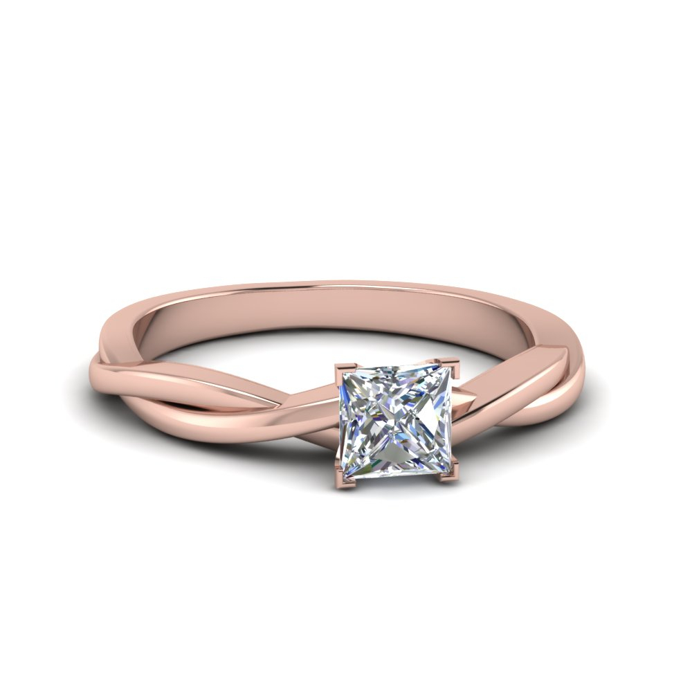 Braided Single Diamond Ring In Most Recently Released Princess Cut Single Diamond Wedding Bands In Rose Gold (View 10 of 25)
