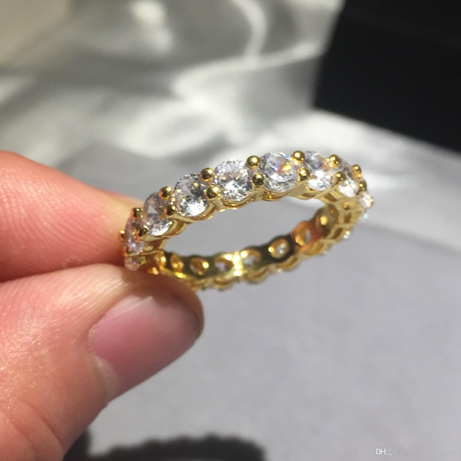 Brand 925 Silver & Gold Pave Setting Diamond Painting Full Ring Eternity  Band Engagement Wedding Stone Rings Size 5,6,7,8,9,10 In Most Current Full Micropavé Diamond Wedding Bands (View 7 of 25)
