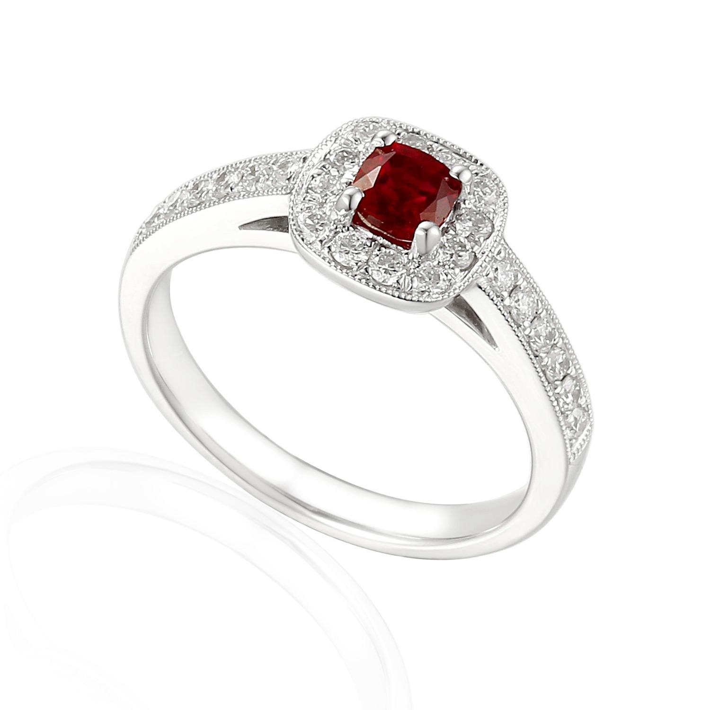 "Brilliant Ruby ""kyleva"" Cushion Cut Diamond Halo Engagement Ring Pertaining To Cushion Cut Ruby Rings (View 4 of 25)"