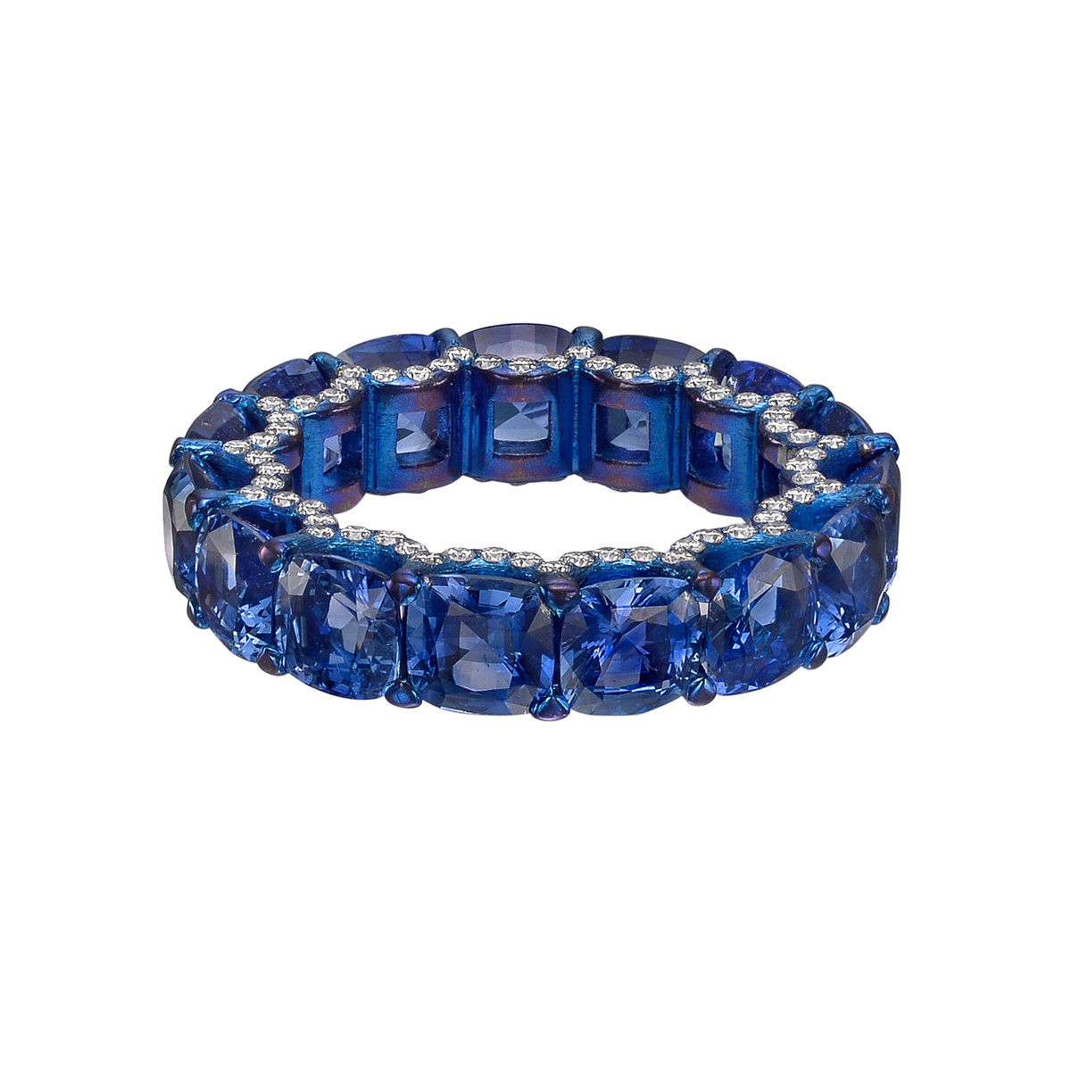 Busatti Sapphire Eternity Band | Betteridge For Current Prong Set Round Brilliant Sapphire And Diamond Wedding Bands (View 13 of 25)