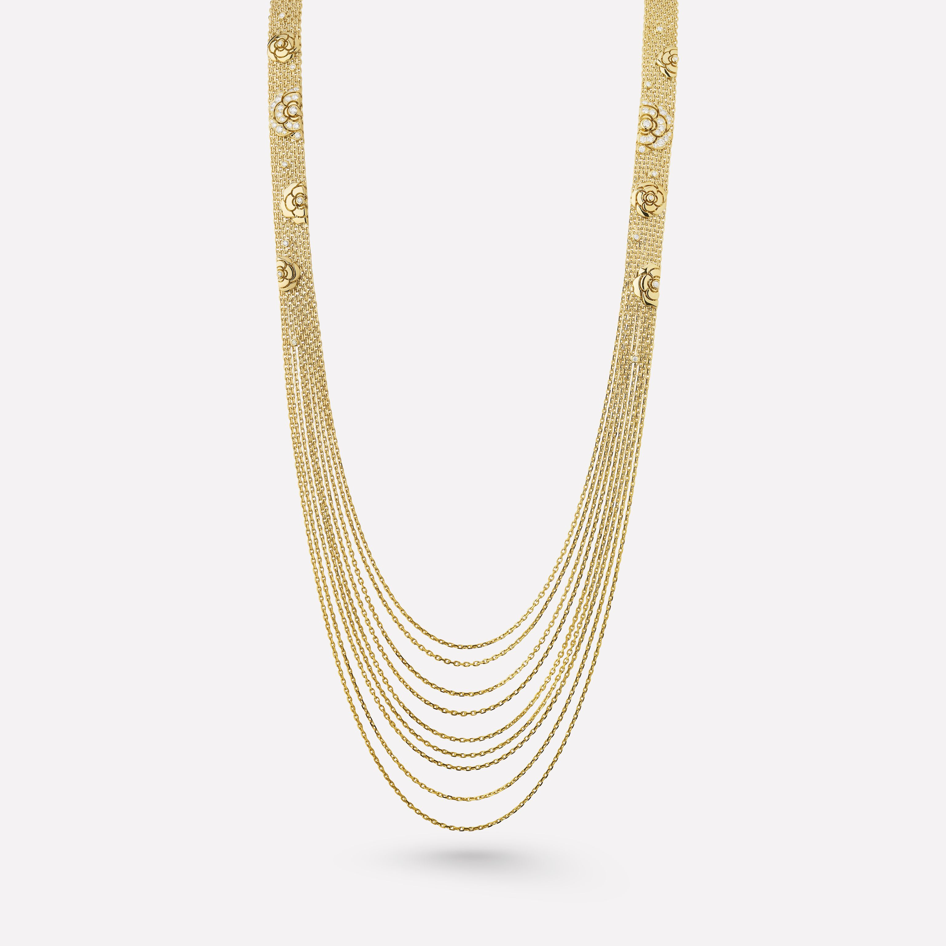 Camélia Necklace – Impression Camélia Necklace In 18K Yellow Intended For Newest Yellow Gold Diamond Sautoir Necklaces (View 5 of 25)