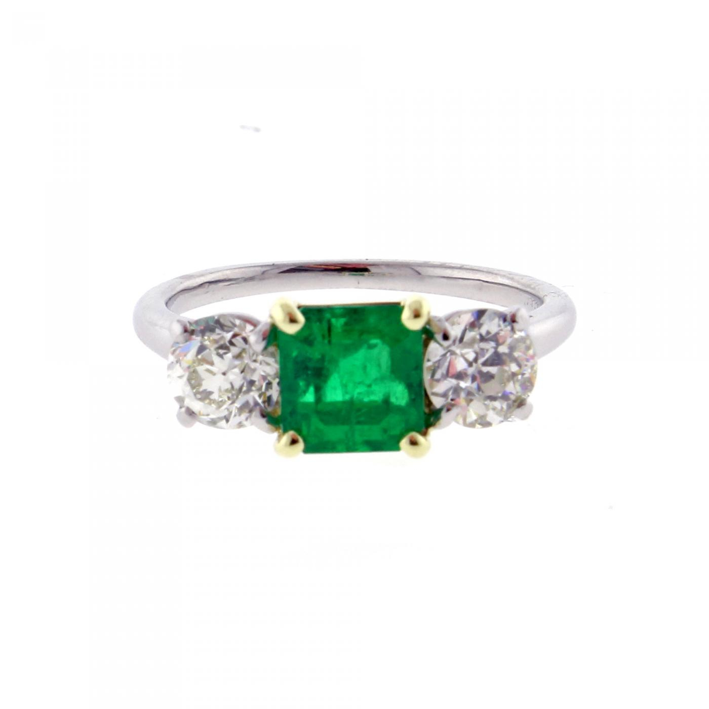 Cartier – Cartier Emerald And Diamond Three Stone Ring Inside Emerald And Diamond Three Stone Rings (View 10 of 25)