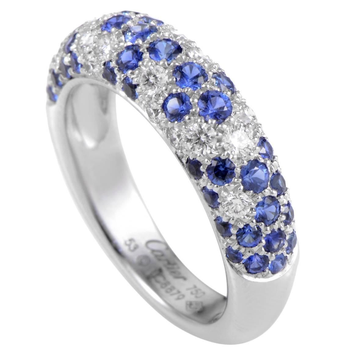 Cartier Sapphire Diamond Gold Partial Pave Band Ring | Fun Regarding Newest Partial Micropavé Diamond Wedding Bands (View 4 of 25)