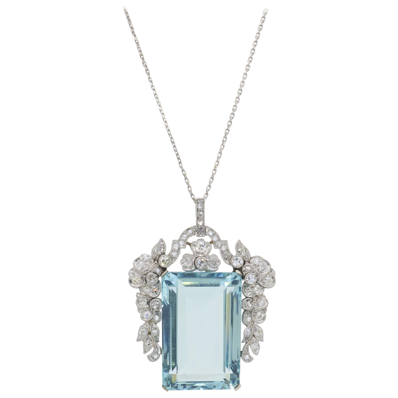 Certified Natural Aquamarine And Diamond Pendant Necklace In Platinum For 2019 Reversible Diamond, Sapphire And Aquamarine Pendant Necklaces (View 5 of 25)