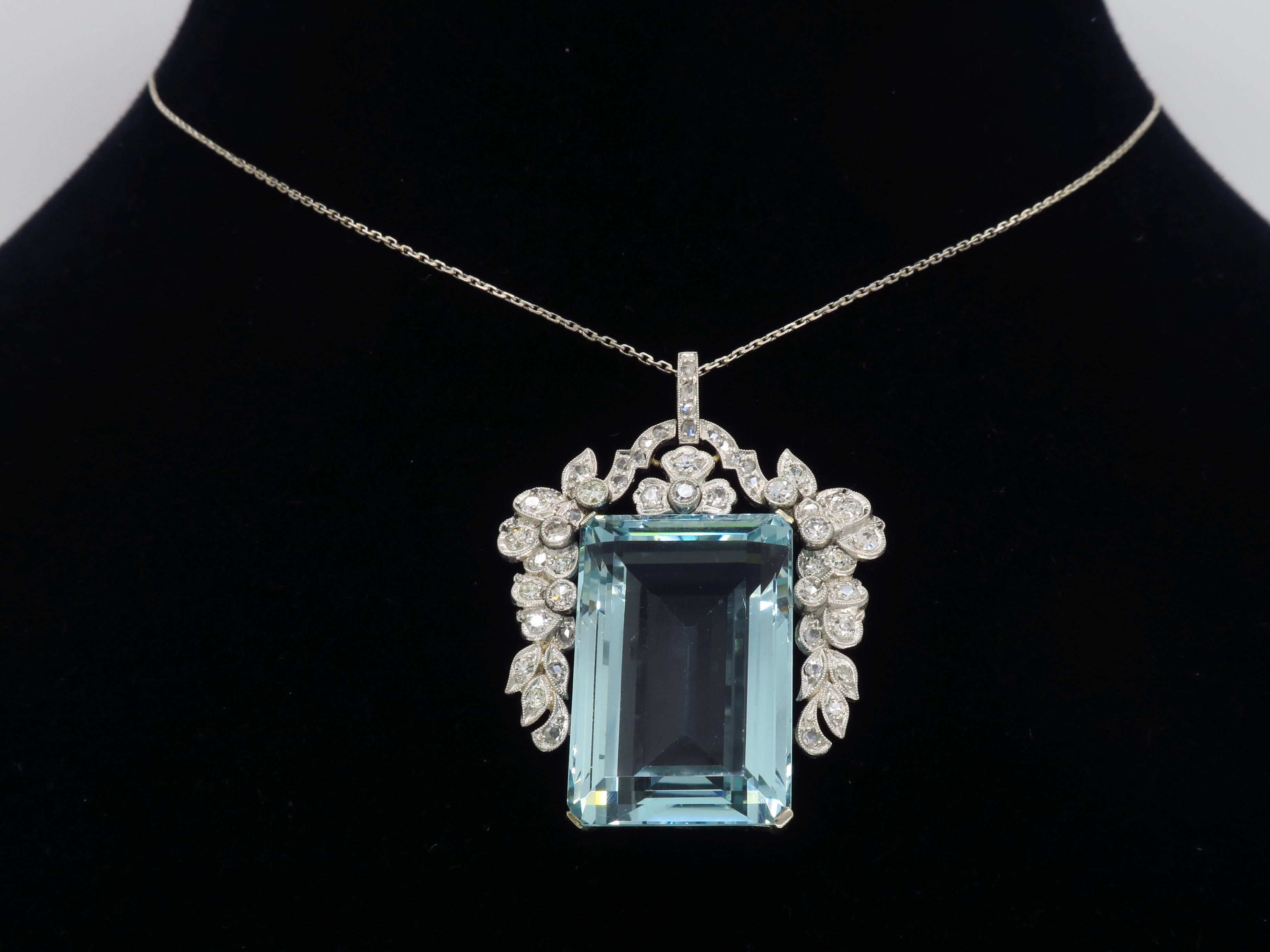Certified Natural Aquamarine And Diamond Pendant Necklace In Platinum For Most Popular Reversible Diamond, Sapphire And Aquamarine Pendant Necklaces (View 12 of 25)