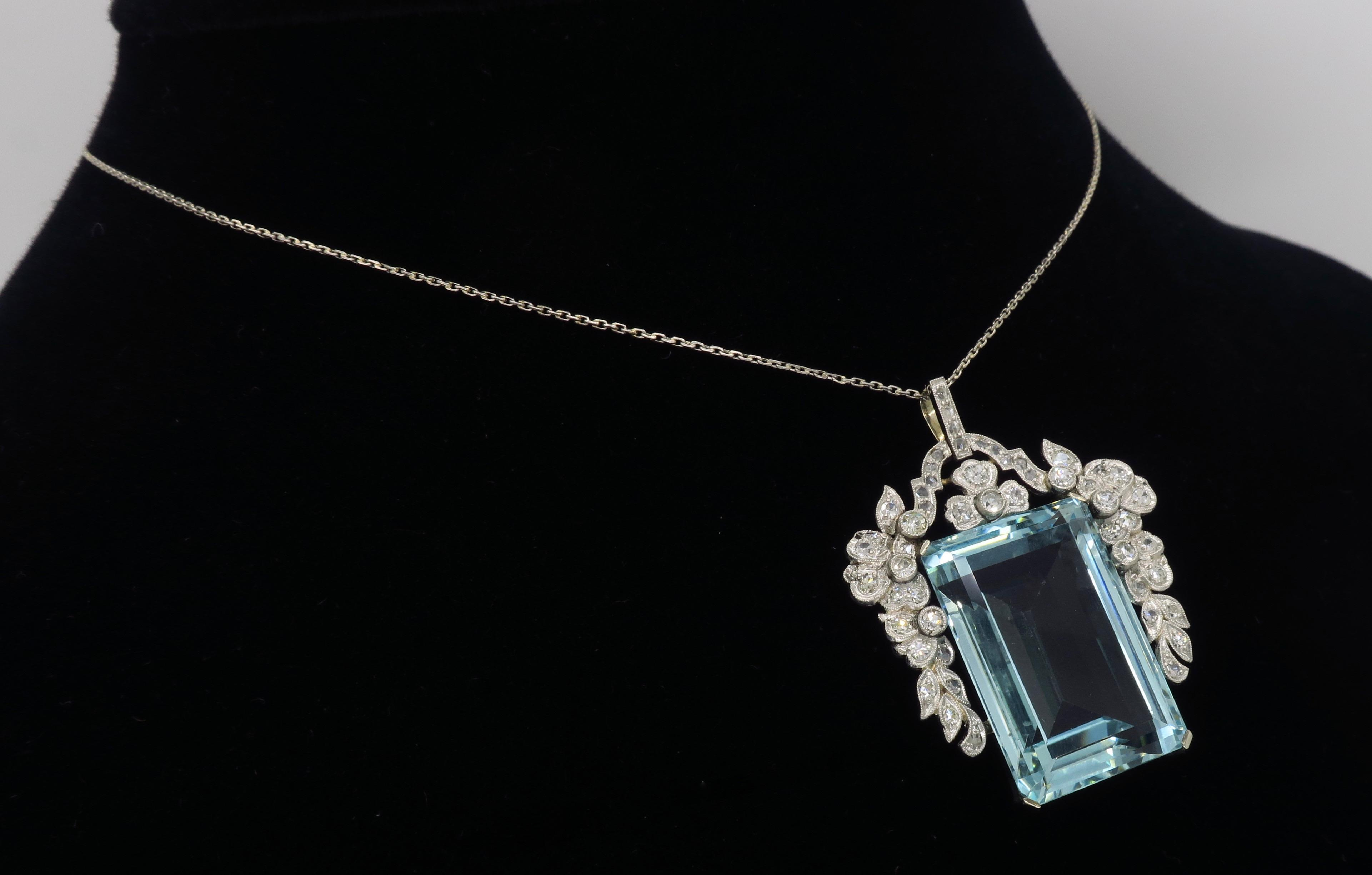 Certified Natural Aquamarine And Diamond Pendant Necklace In Platinum With 2019 Reversible Diamond, Sapphire And Aquamarine Pendant Necklaces (View 22 of 25)