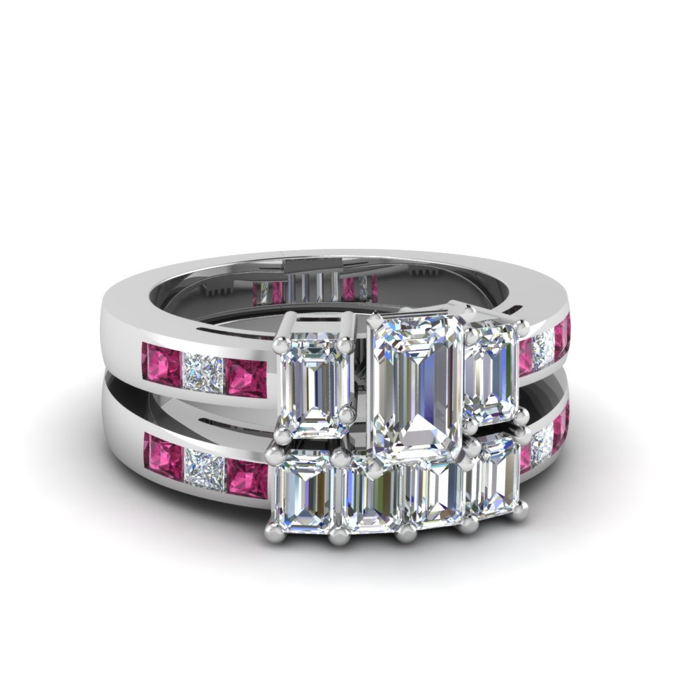 Channel Set 3 Stone Wedding Sets Within Current Bar Set Round Brilliant And Emerald Cut Diamond Wedding Bands (View 5 of 25)
