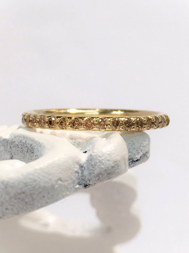 Chocolate Diamond Eternity Band 14k Yellow Gold Pave Full Eternity Brown Diamond Cognac Wedding Band (View 13 of 25)