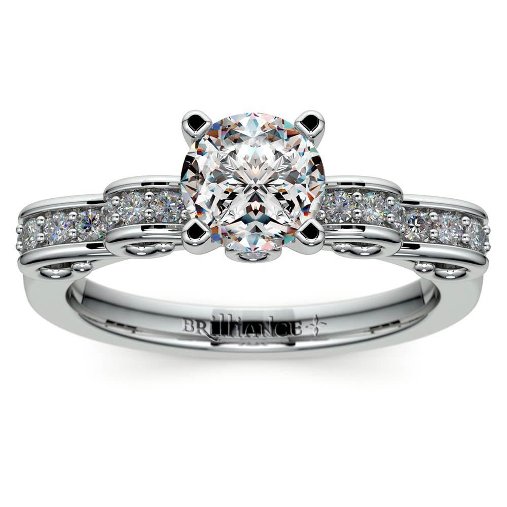Cinderella Ribbon Diamond Engagement Ring In White Gold Within Current Ribbon Diamond Wedding Bands (Gallery 20 of 25)