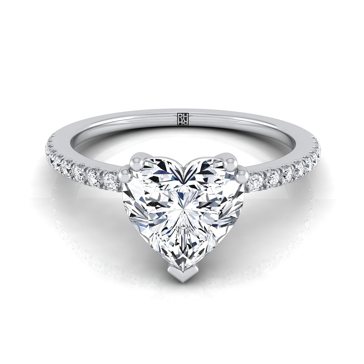 Classic Petite Split Prong Heart Shape Diamond Engagement Ring In Platinum  (1/6 Ct.tw (View 8 of 25)