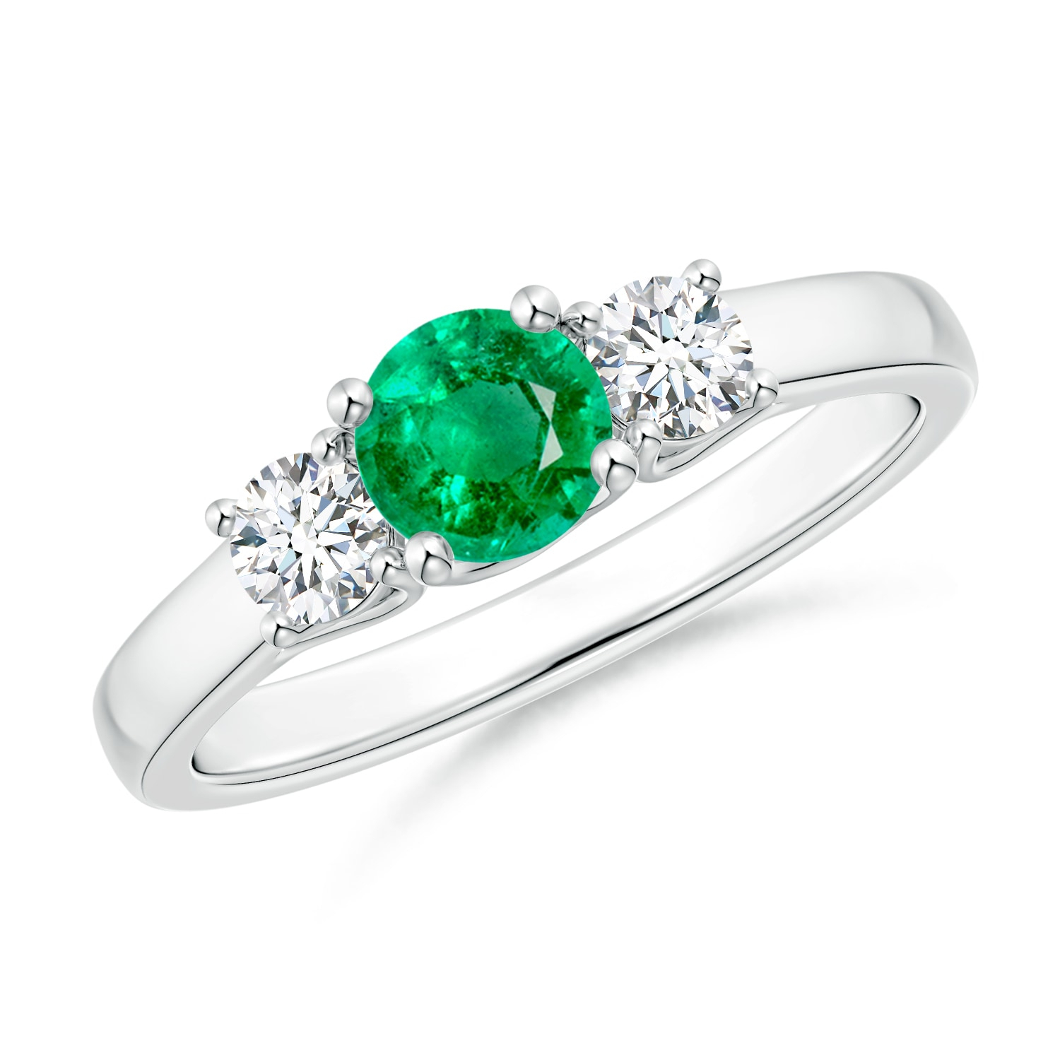Classic Round Emerald And Diamond Three Stone Ring For Emerald And Diamond Three Stone Rings (View 3 of 25)