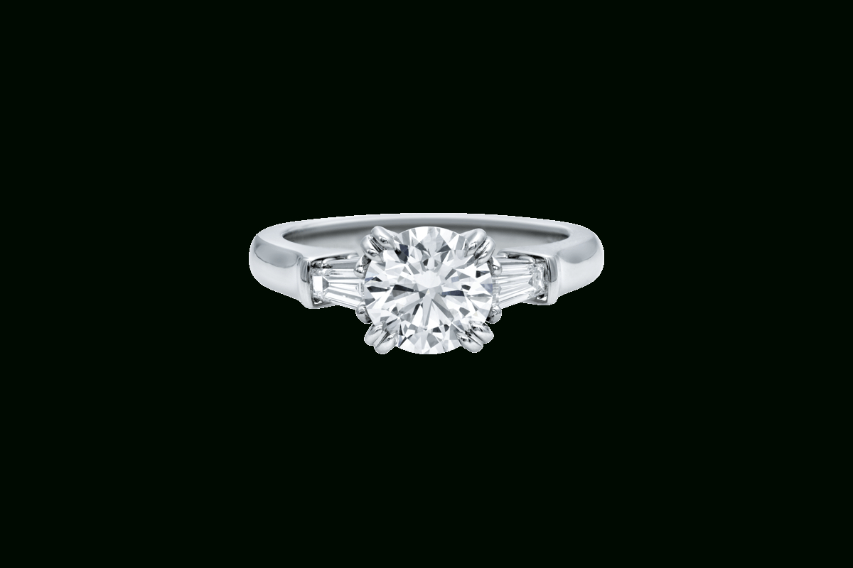 Classic Winston™ Engagement Ring | Harry Winston Throughout Round Brilliant Engagement Rings With Tapered Baguette Side Stones (View 5 of 25)