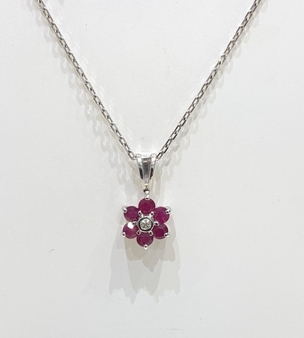 Cluster Ruby And Diamond White Gold Necklace In Current Ruby And Diamond Cluster Necklaces (View 11 of 25)