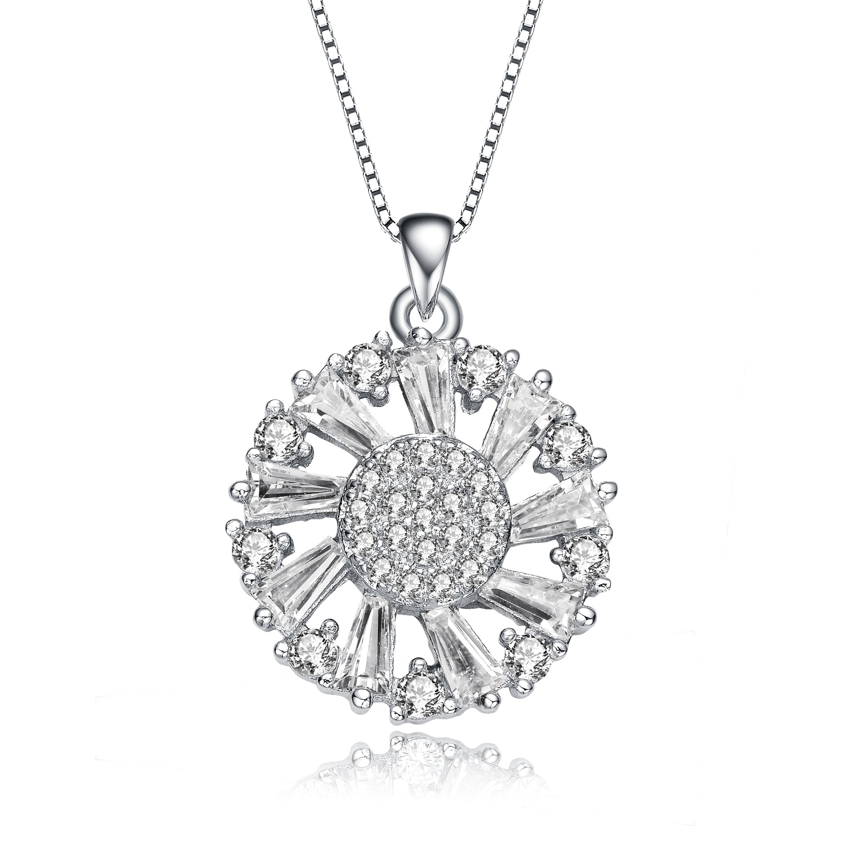 Collette Z Sterling Silver Round And Baguette Cz Wreath Pendant Necklace For 2019 Diamond Wreath Necklaces (View 12 of 25)